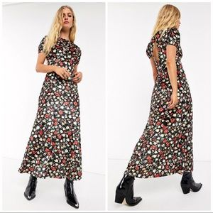ASOS | FLORAL RETRO 70s PRINT VELVET MAXI DRESS